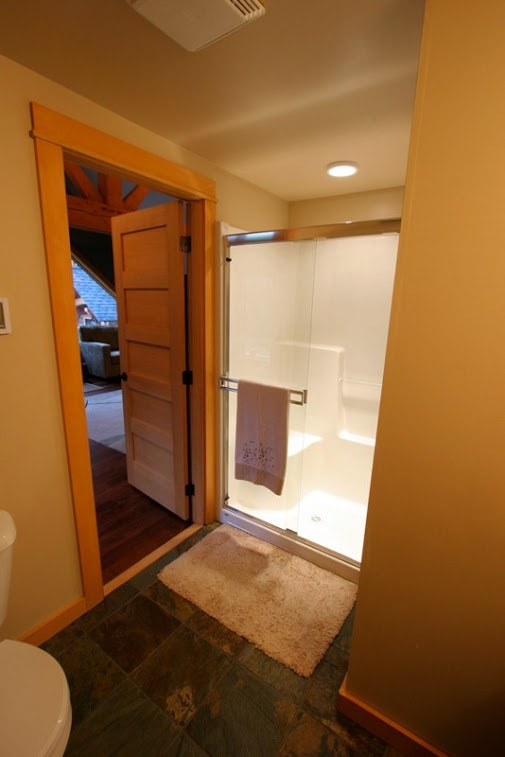Timberloft - heated tile floors and large shower unit