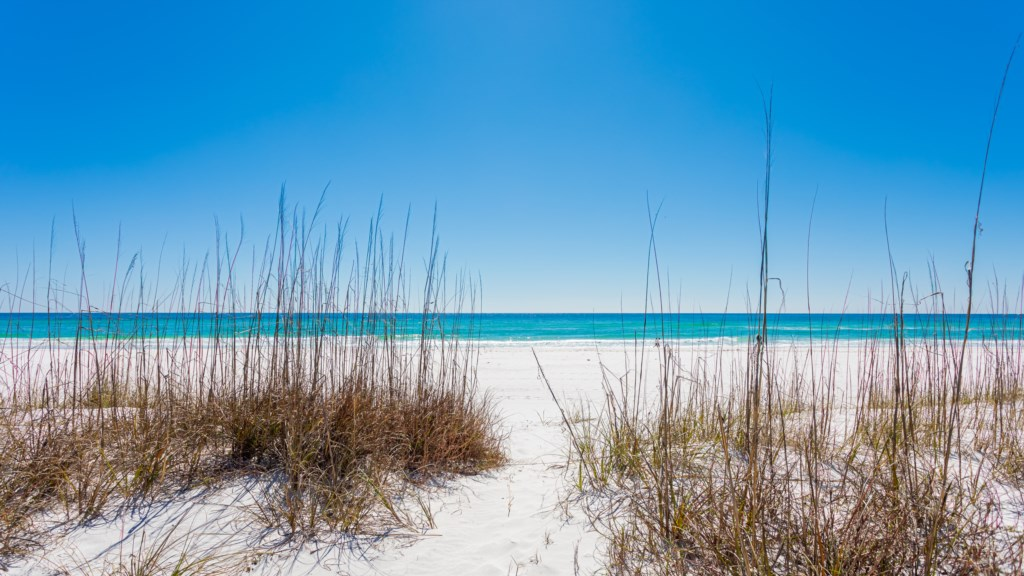 White sandy beaches with emerald waters