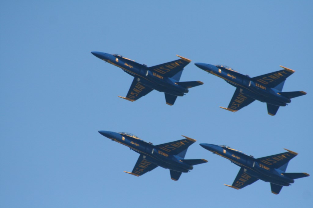 The Blue Angels practice quite often...don't be surprised by an unexpected flyby