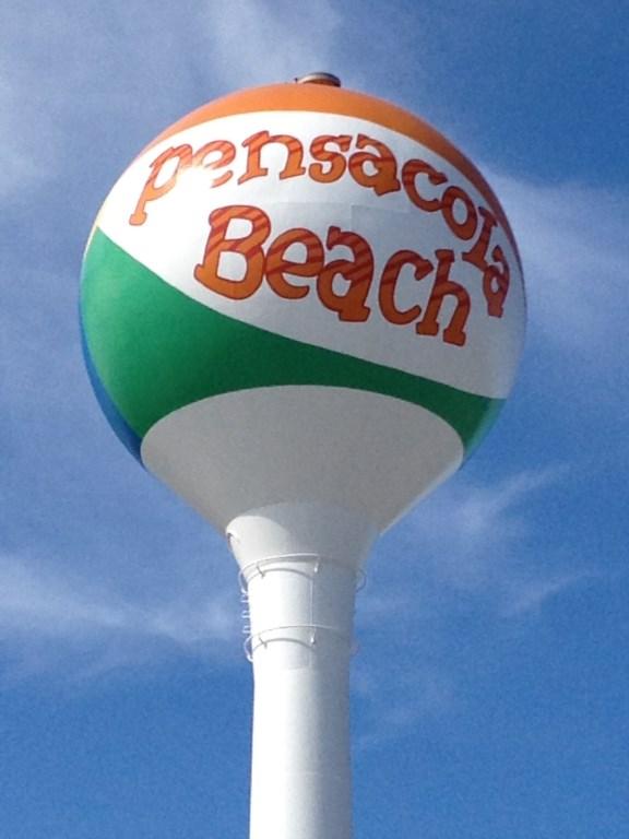 Famous beach ball water tower at Casino Beach