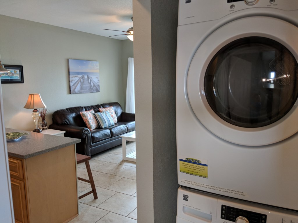 Unit has fuill size washer and dryer
