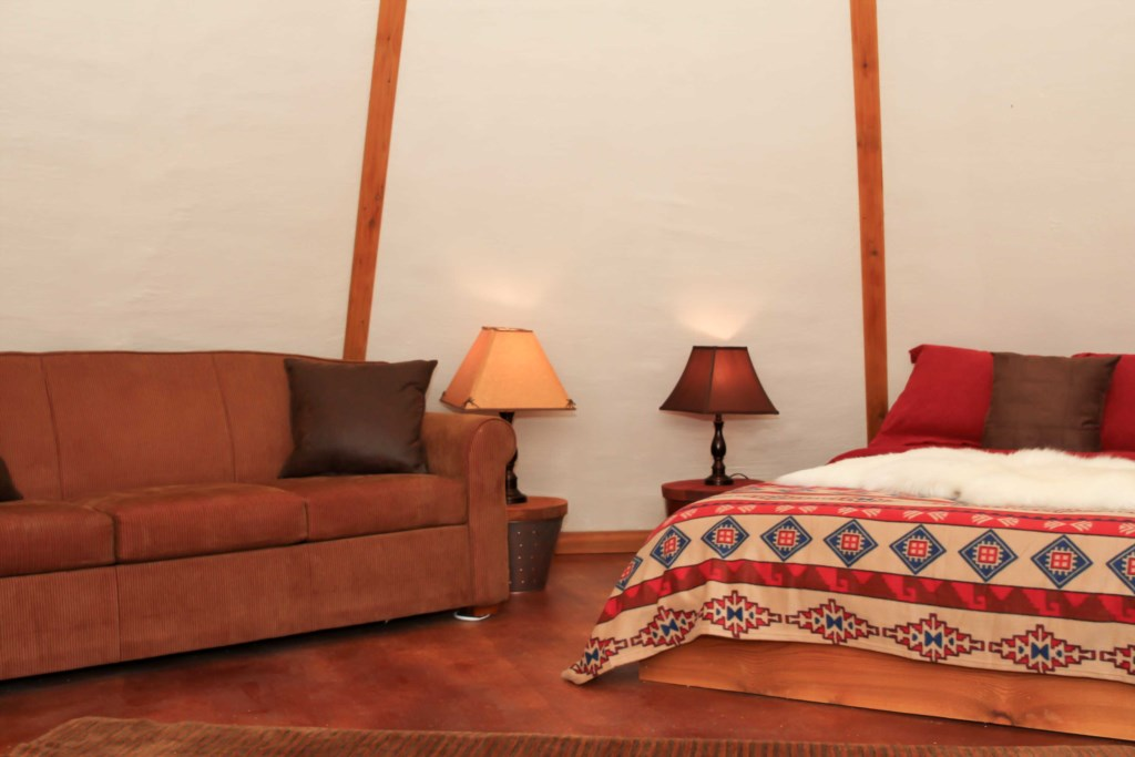 The Tipis are very dark at night for a restful night's sleep.