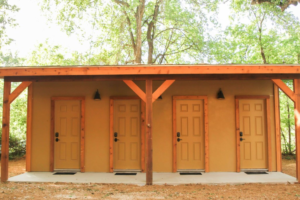 Bath house - each unit has its own individual secure bathroom located near the Tipis.