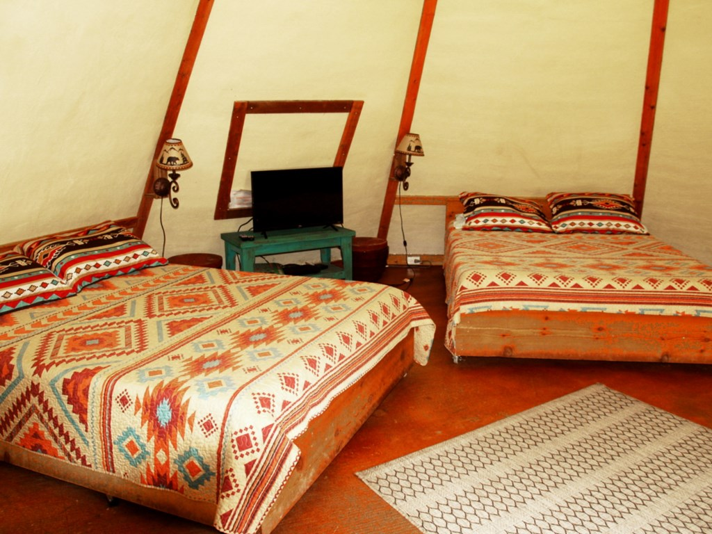 Tipis have WiFI and a TV with a DVD player.
