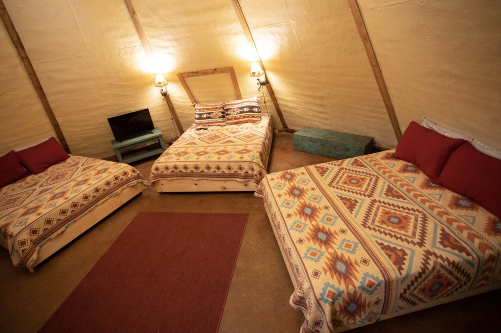 The Tipi is dark and cozy for a restful sleep.
