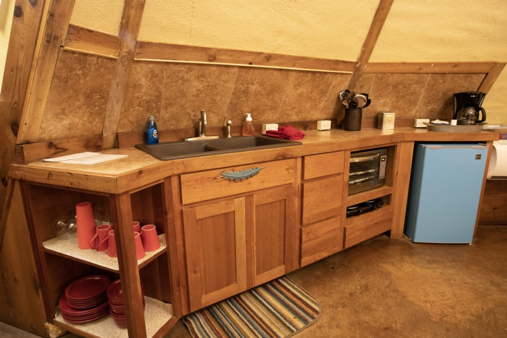 Kitchenette equipped to cook basic meals.