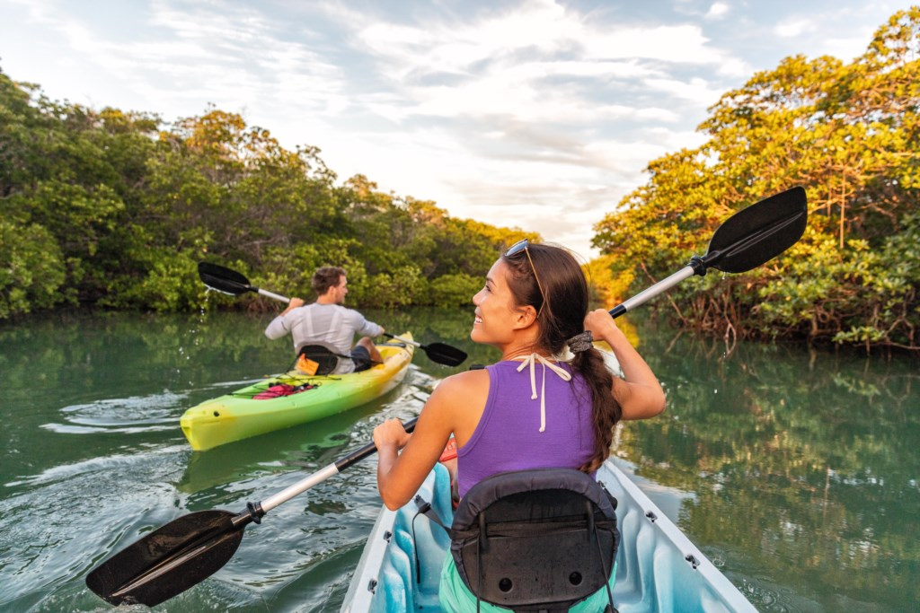 Rent a kayak or two and enjoy a paddle up river.