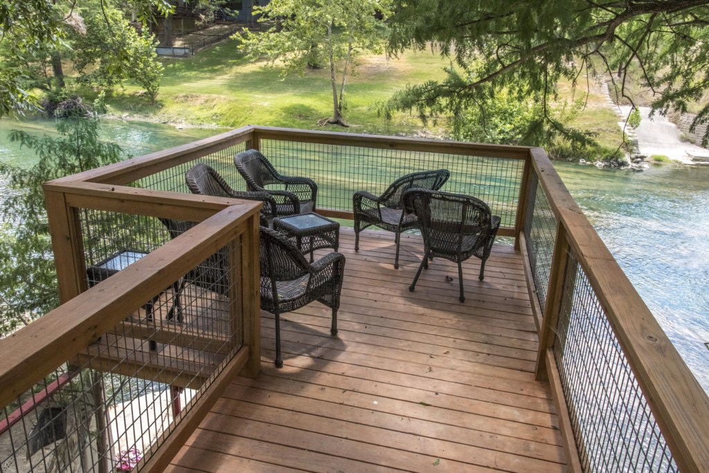 Bring a cocktail down to our deck that overlooks the water or simply soak your feet in the cool wate