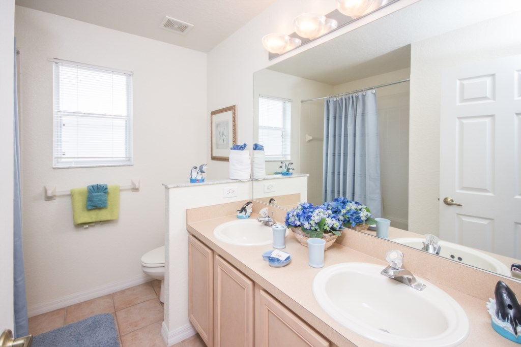 Third Bath with Combo Shower/Bath and Twin Vanity