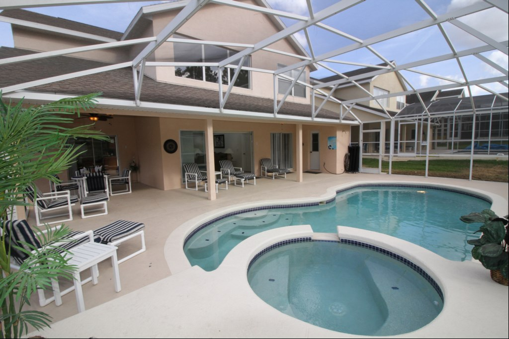 Stunning Pool with Beautiful Deck and Raised Hot Tub