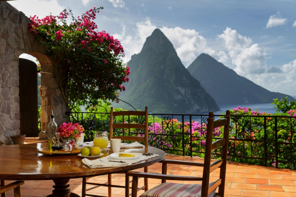 Patio out to Pitons