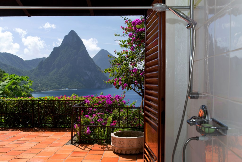Shower with view to Pitons