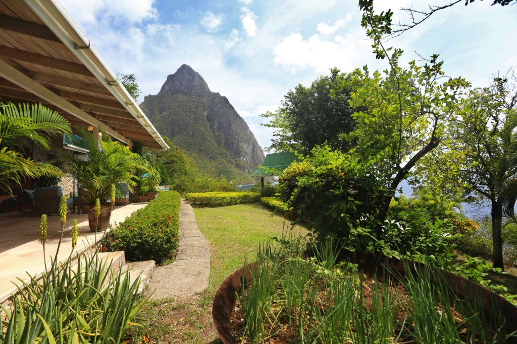 Gardens with herbs along with stunning views of the Pitons