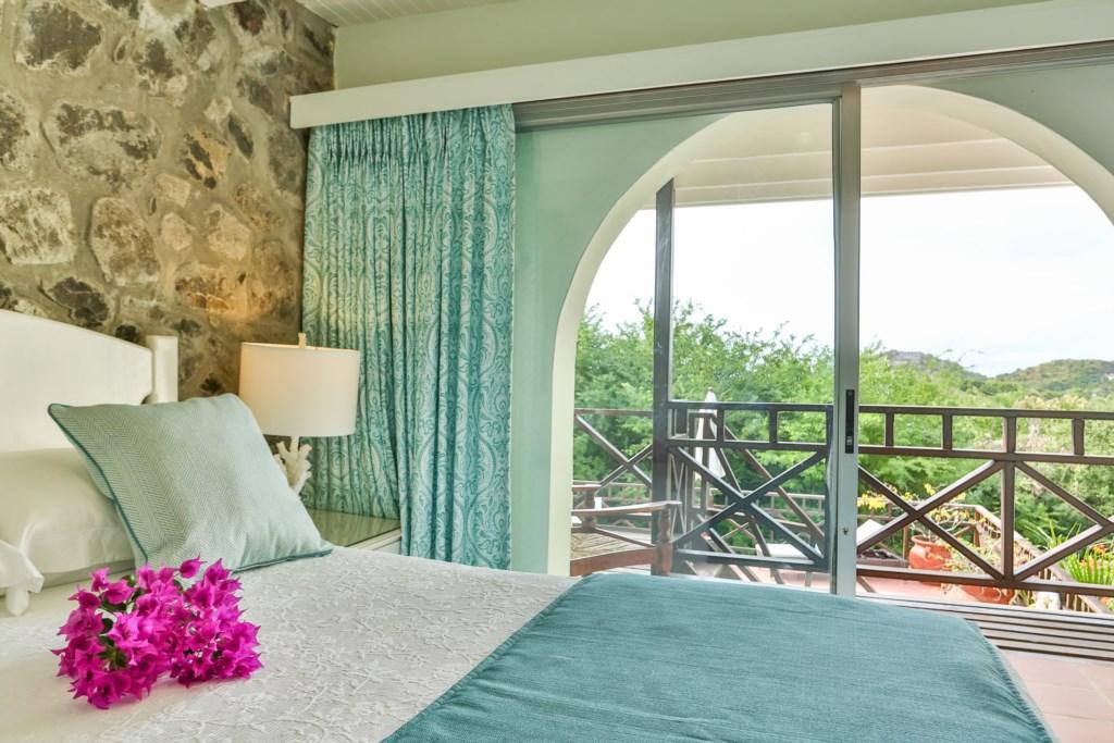 Enjoy the views through the glass sliding doors.