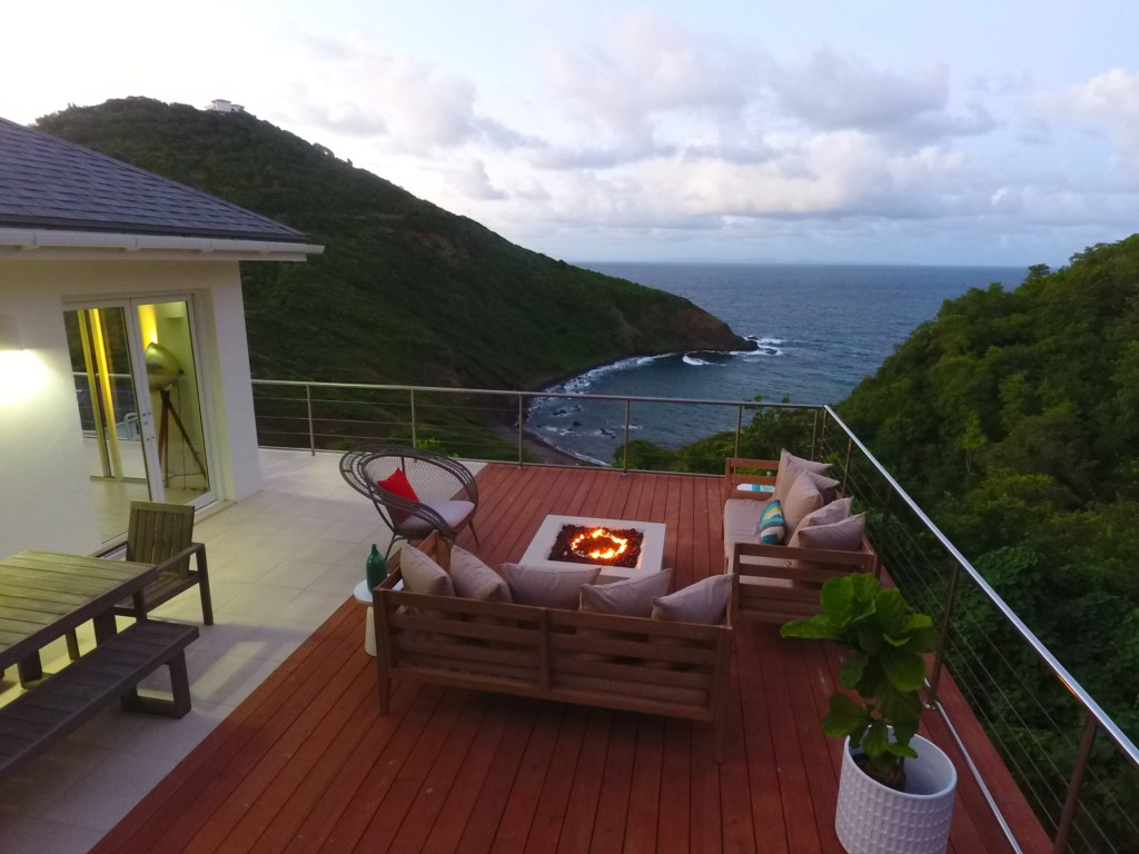 Arial view of the fire pit lounge with views.
