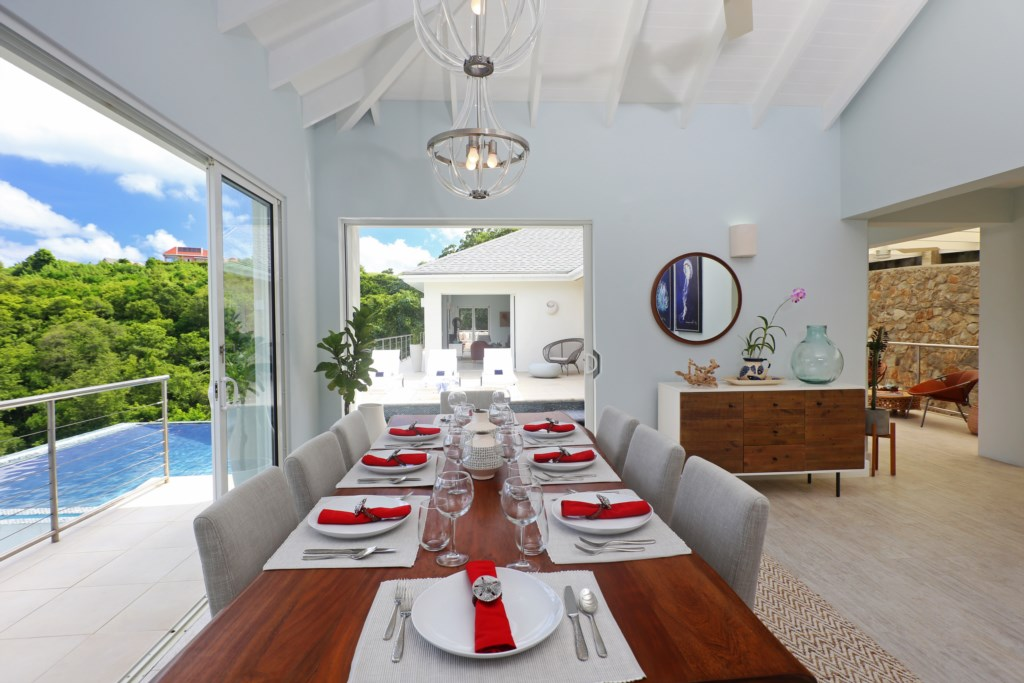 Formal dining with views to outside.