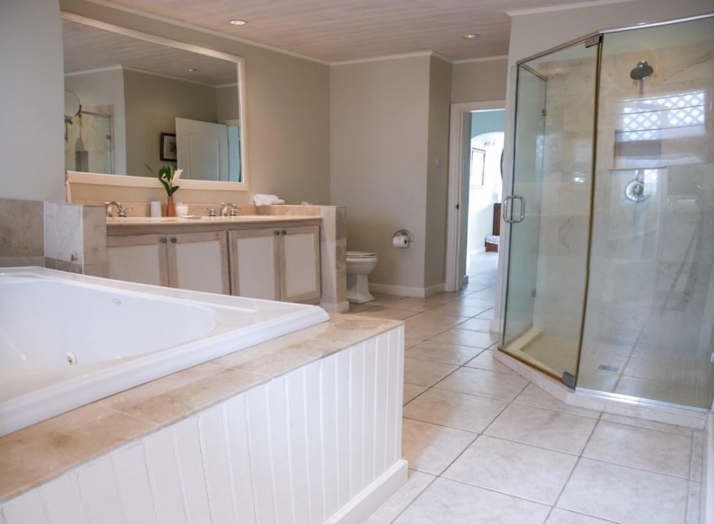 Master bathroom also has a soaking tub.