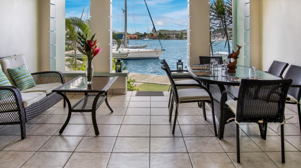 Patio off of the living room, great space to relax and take in the water views.