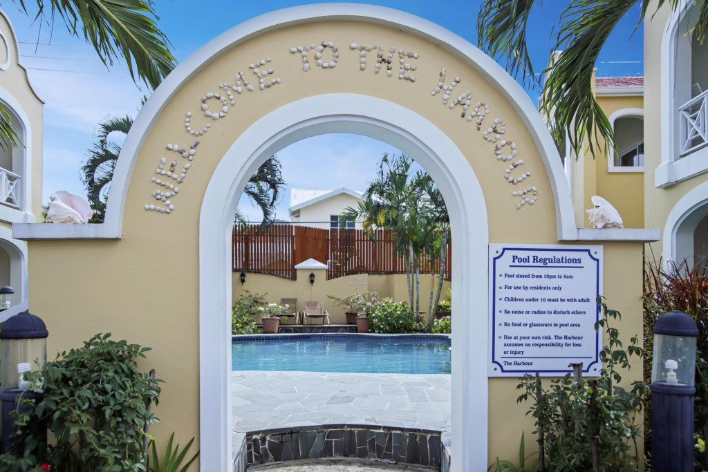 Entrance to the pool, steps from the unit.