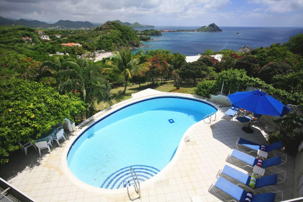 Large pool with views of our National Landmark - Pigeon Island