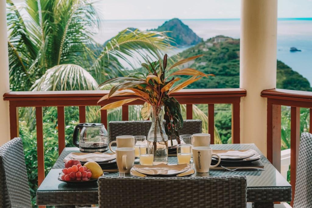 Enjoy Al fresco dining on the outdoor balcony.