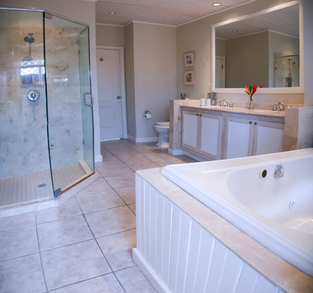 Master ensuite bathroom, with soaking tub and separate shower.