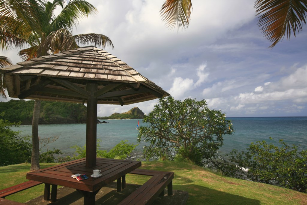 Have breakfast at the gazebo over looking the sea.