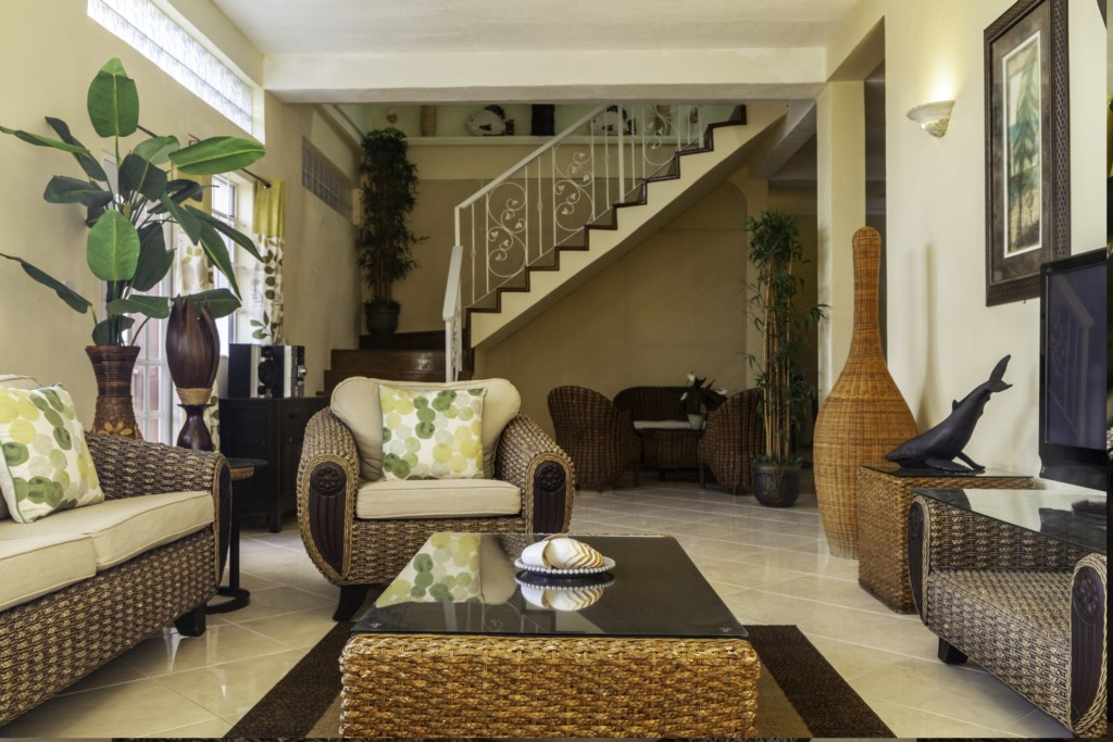 Down stairs lounge, with music and access to pool and near games room.