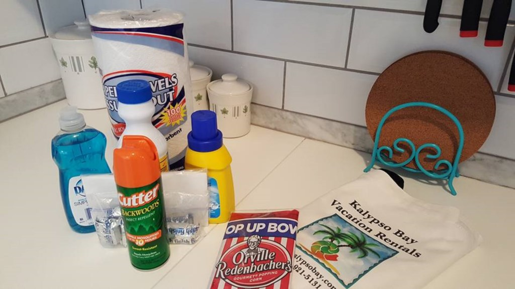Compilmentary Kitchen Supplies provided by Kalypso Bay