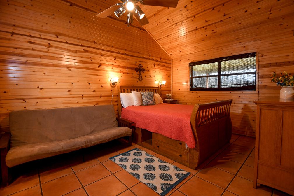 Futon and Queen Bed in Bedroom 2