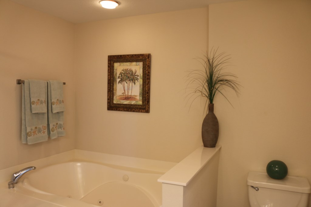 Relax in this large soaking tub