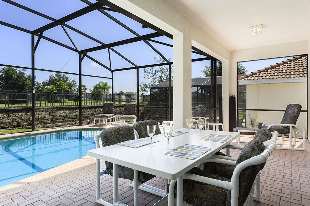 Luxurious patio furniture with pool and spa