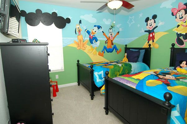 Perfect Disney themed bedroom with 2 twin beds and flat screen TV