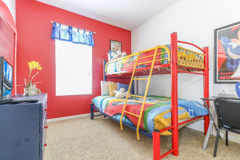 Mickey mouse themed bedroom with twin/full bunk bed and 19