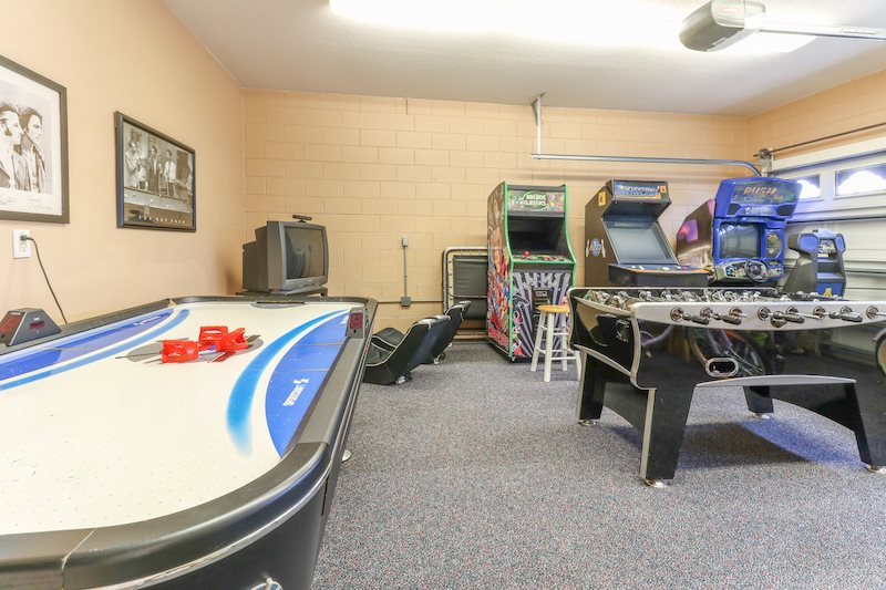 Game room with air hockey, foosball and Xbox game system