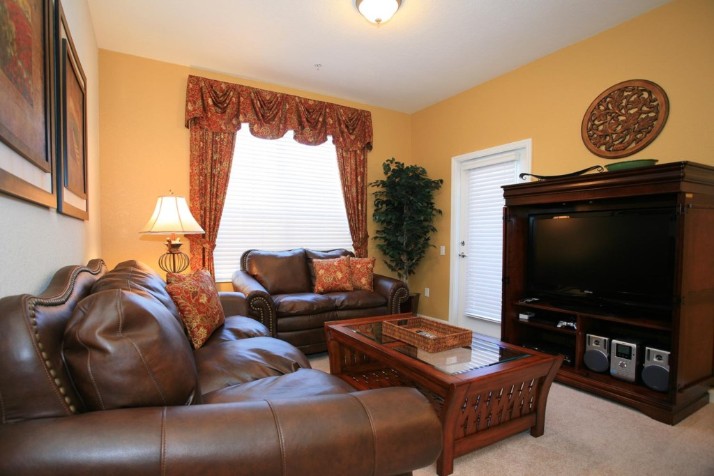 Living area with 42-inch LCD TV/DVD combo & PS2