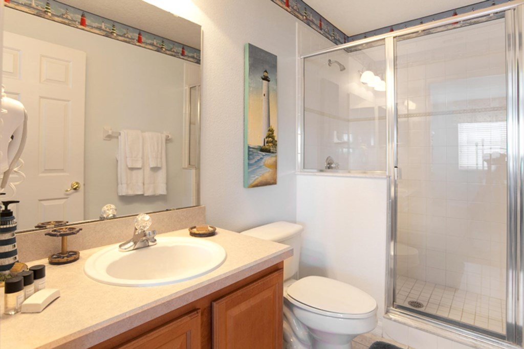 Suite 4 private bathroom with glass door shower