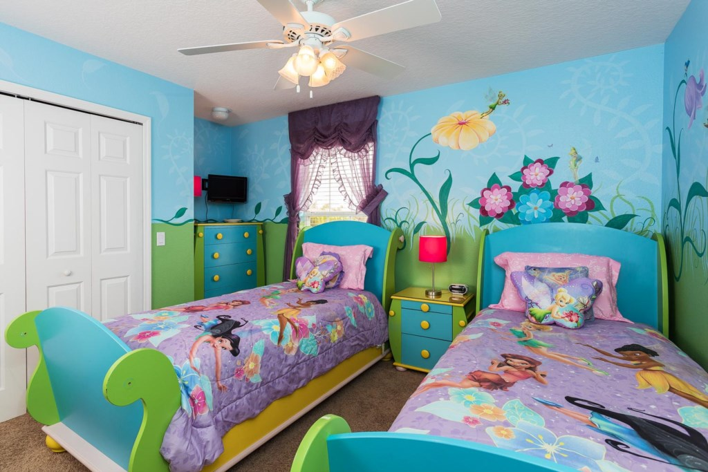 Delightful upstairs Pixie Hollow-themed twin bedroom 6 with 19-inch LCD TV/DVD combo