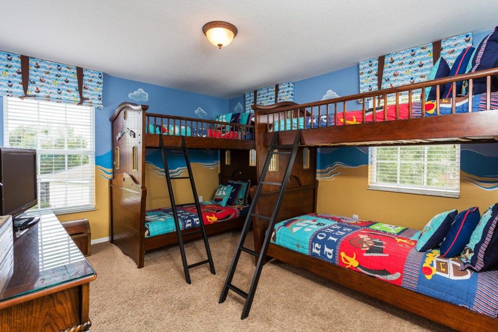 Fun upstairs pirate-themed bedroom 7 with 2 twin bunks plus a 22-inch LCD TV/DVD combo