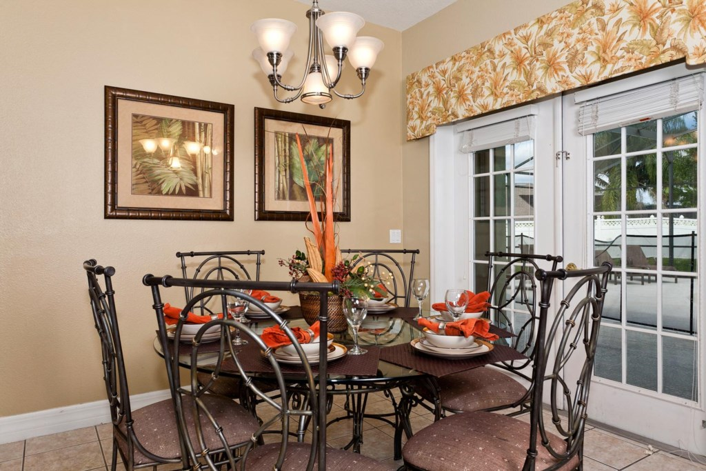 Casual dining area seats six