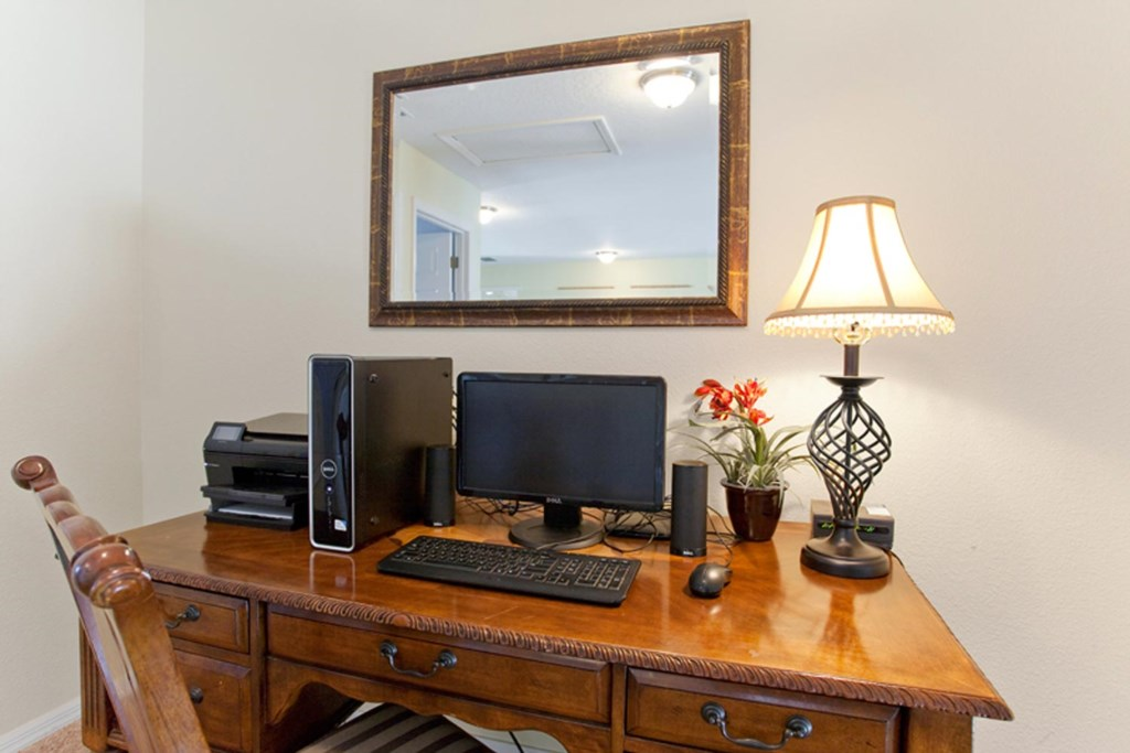 Loft area featuring flat-screen computer with complimentary Wi-Fi access