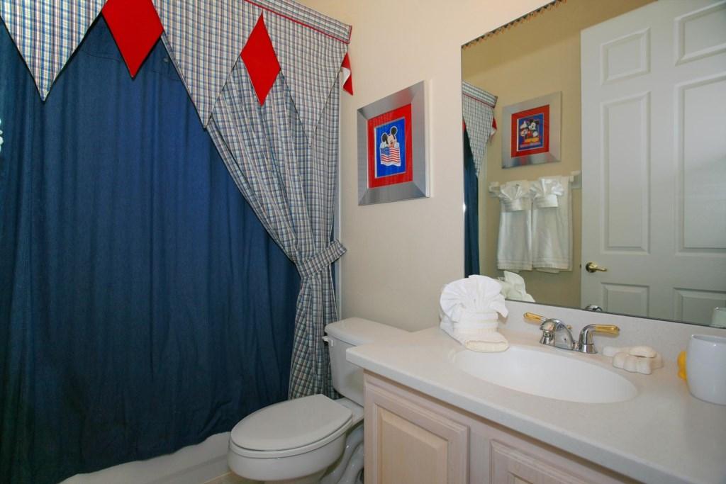 Downstairs hall bathroom 4 with bathtub & shower
