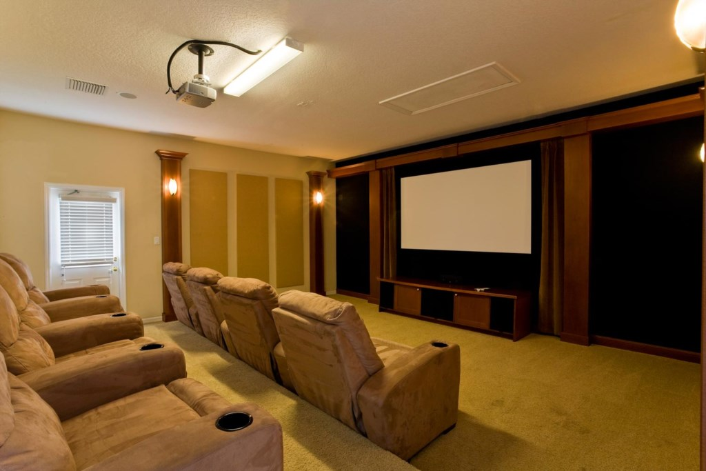 Home theater with tiered seating and large projector screen