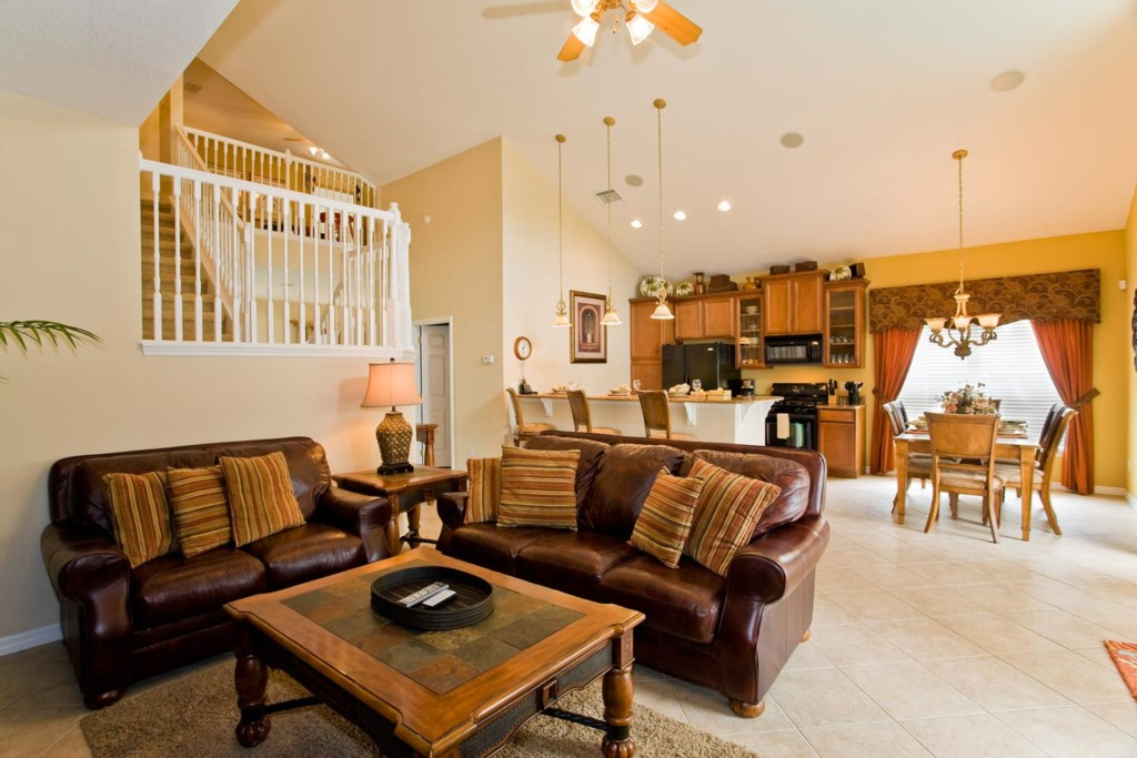 The living area provides easy access to the kitchen