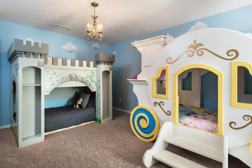 Thrilling upstairs princess/castle-themed bedroom 4 with two custom-built twin bunks