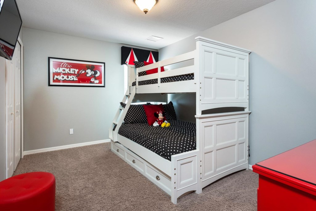 Upstairs Classic Mickey-themed bunk bedroom 5