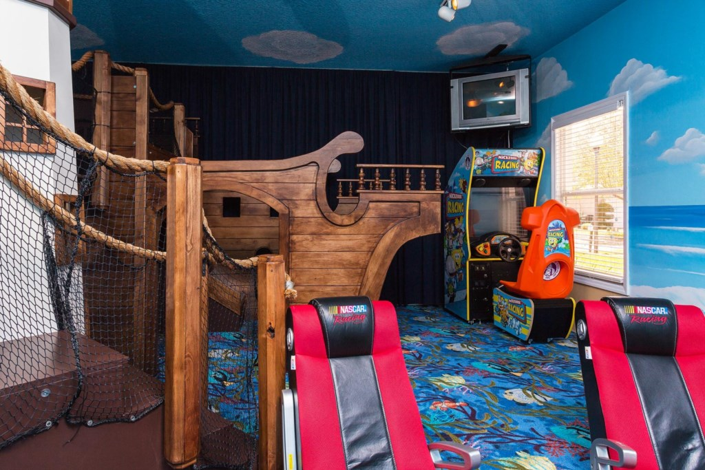 Kids will love playing on the pirate ship play set