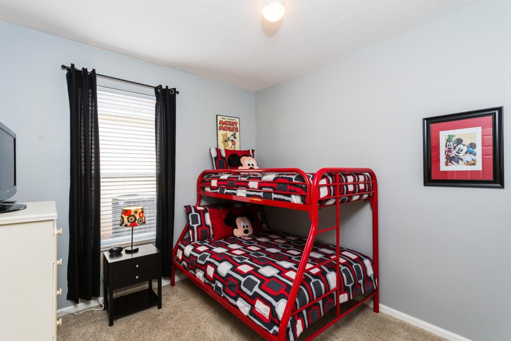 Fun twin/full bunk bedroom 4 with Mickey Mouse decor