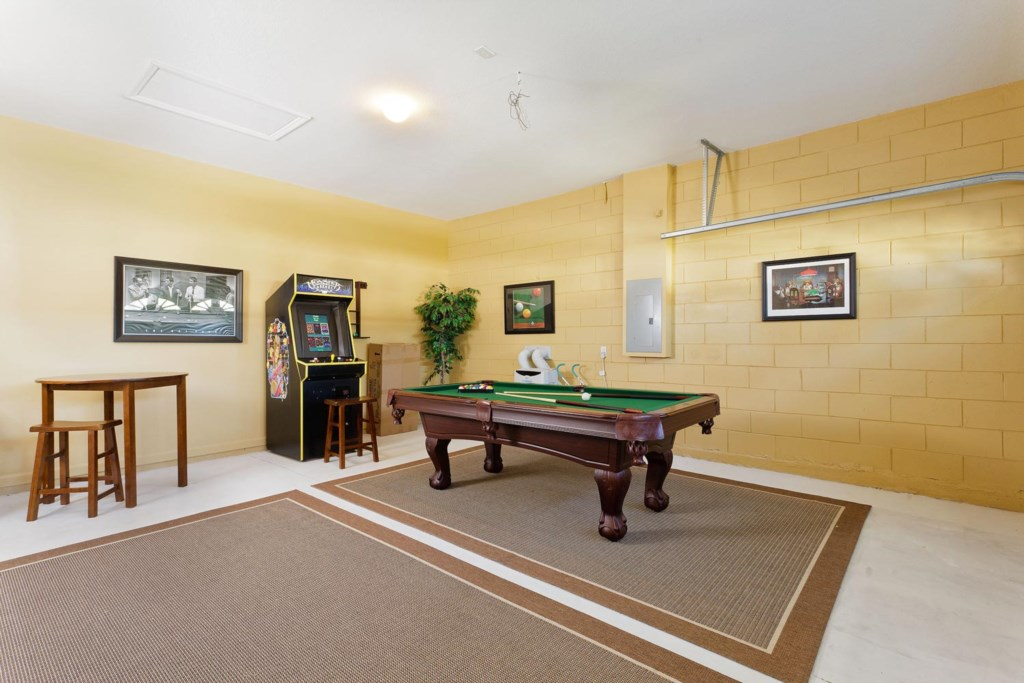 Challenge family or friends to a game of pool or play old-school arcade games in the game room