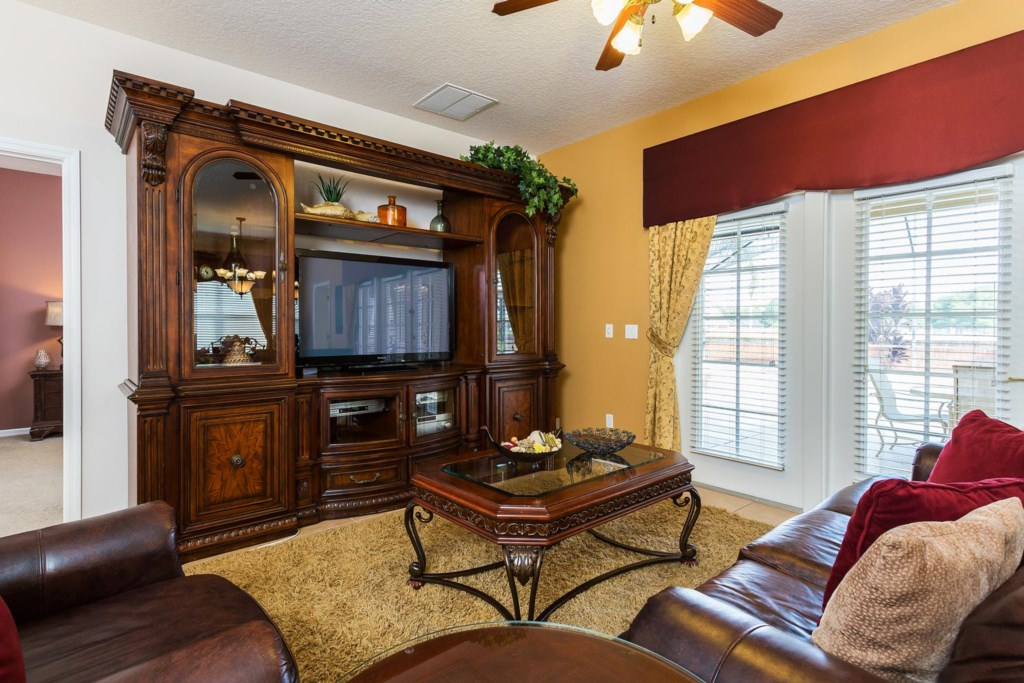 The living area is the perfect place to unwind after a fun day exploring Orlando